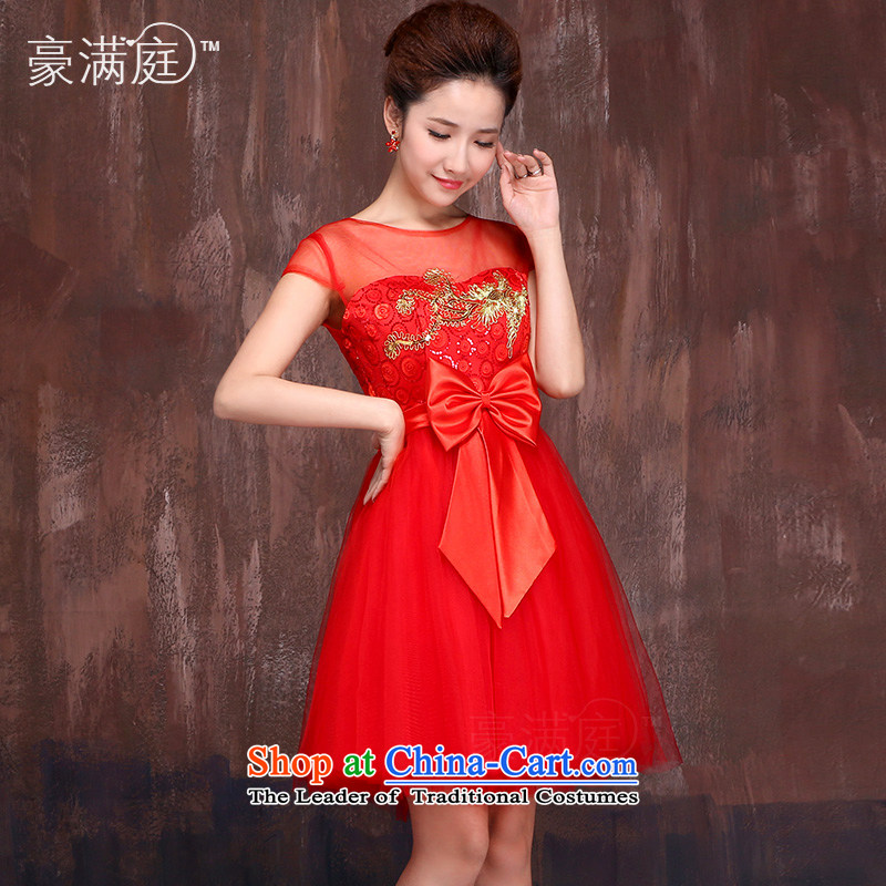 Red short of marriages bows Services?2015 Spring_Summer New Kim embroidered Bong-engraving shoulders cheongsam dress?XL