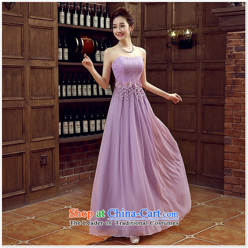 Purple bride bridesmaid wedding dress marriage bows services wedding night wear long bride with new 2015 light purple?L