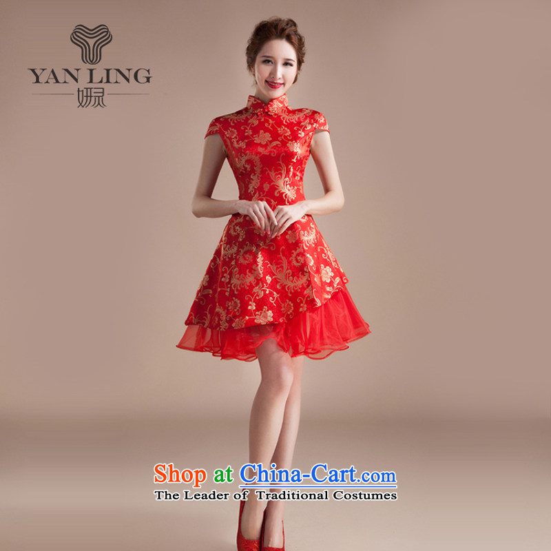 The new summer 2015 cheongsam dress short of marriage dress red retro embroidery improved services?XXL toasting champagne bride wedding