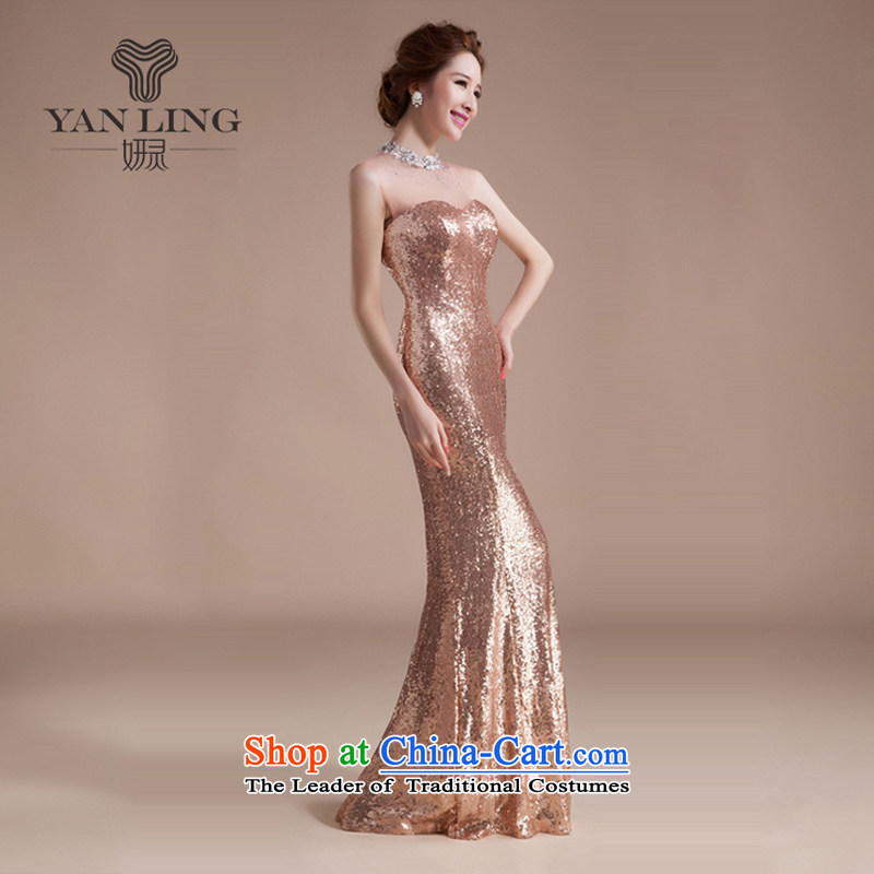 Charlene Choi Ling wedding dresses?2015 new marriages bows services crowsfoot Long Chest and Sau San evening dresses?s