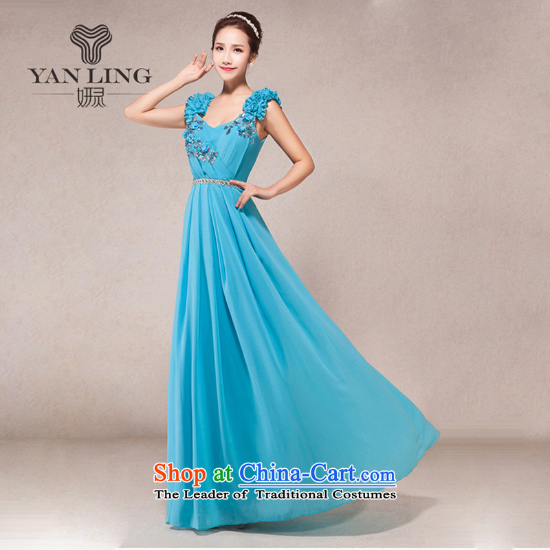 2015 New Long shoulders V-Neck evening dress annual meeting of persons chairing the ceremonial performances video thin bows banquet service?L