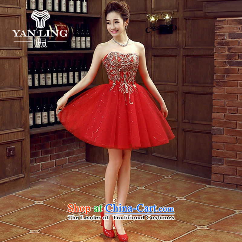 The bride dress marriage services new marriage bows stylish small red dress Female dress short of spring and summer banquet?L