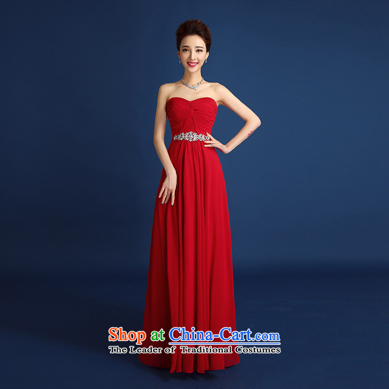 2015 new bride wedding dress bows to the spring and summer red anointed chest creases diamond dress female long marriages banquet dinner dress dark red?XXL