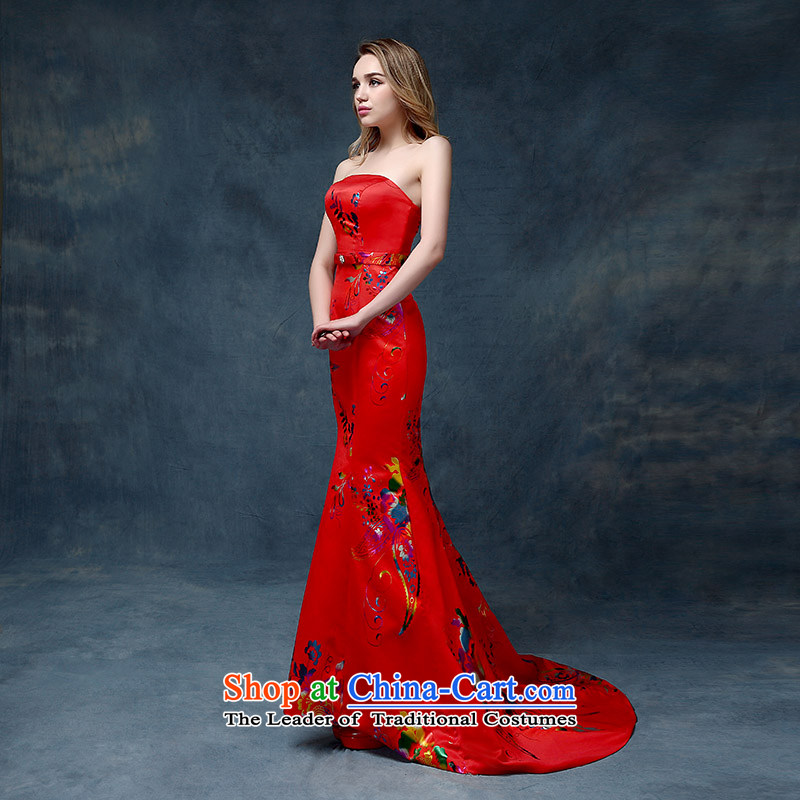 Marriage services and chest. crowsfoot bows wedding dresses evening dresses 2015 new red long thin red?M Video