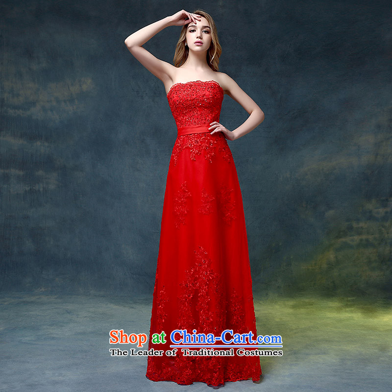 Wedding dresses 2015 new stylish anointed chest red tail crowsfoot bows Service Bridal evening dresses marriage banquet red?L