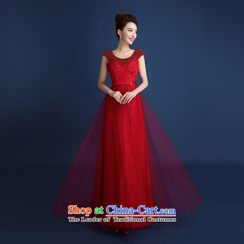 2015 new red lace a shoulder long bride toasting champagne dress service package shoulder Sau Chu Korean style spring and summer, Sau San Magenta?XL