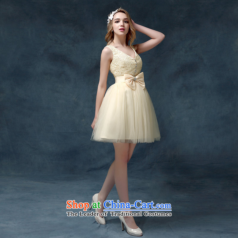 Evening dress New Korea 2015 short spring and summer, bows marriages stylish moderator dress dresses female champagne color?S