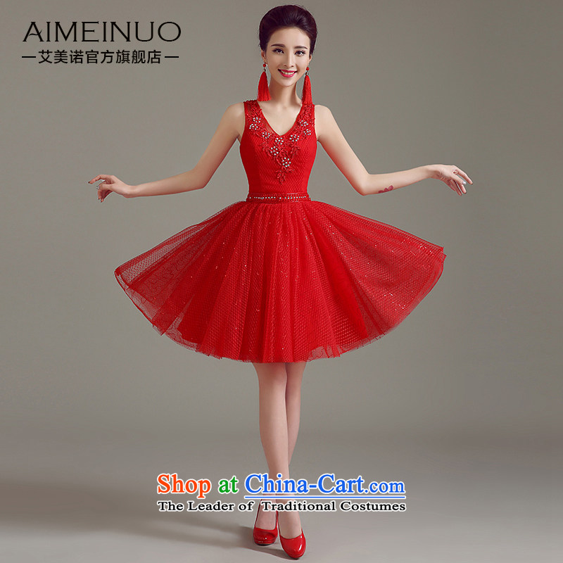 The 2015 summer HIV newlyweds wedding dresses marriages Korean flower Tulle lace shoulder straps to drink thin A15BL03 Sau San video red�XL (2.2 feet) of the waist