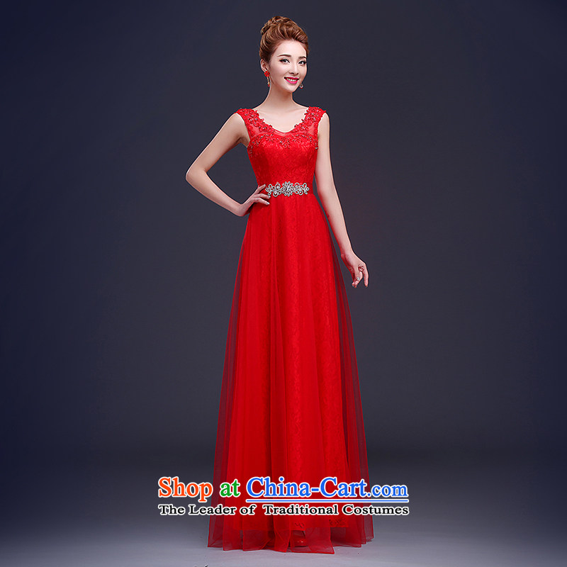 2015 New Red 2-shoulder straps bride wedding dress uniform banquet dress toasting champagne party chairmanship of red XL