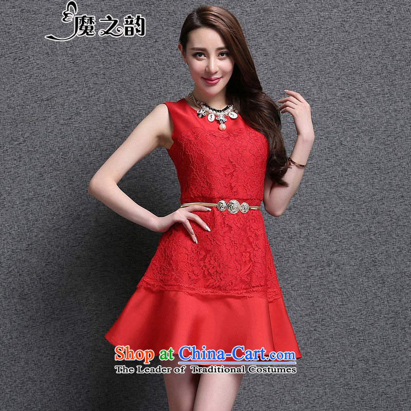 The magic of the 2015 Summer new bride wedding dresses red   Small dress bridesmaid wedding banquet bows to the skirt 86382 Red?L
