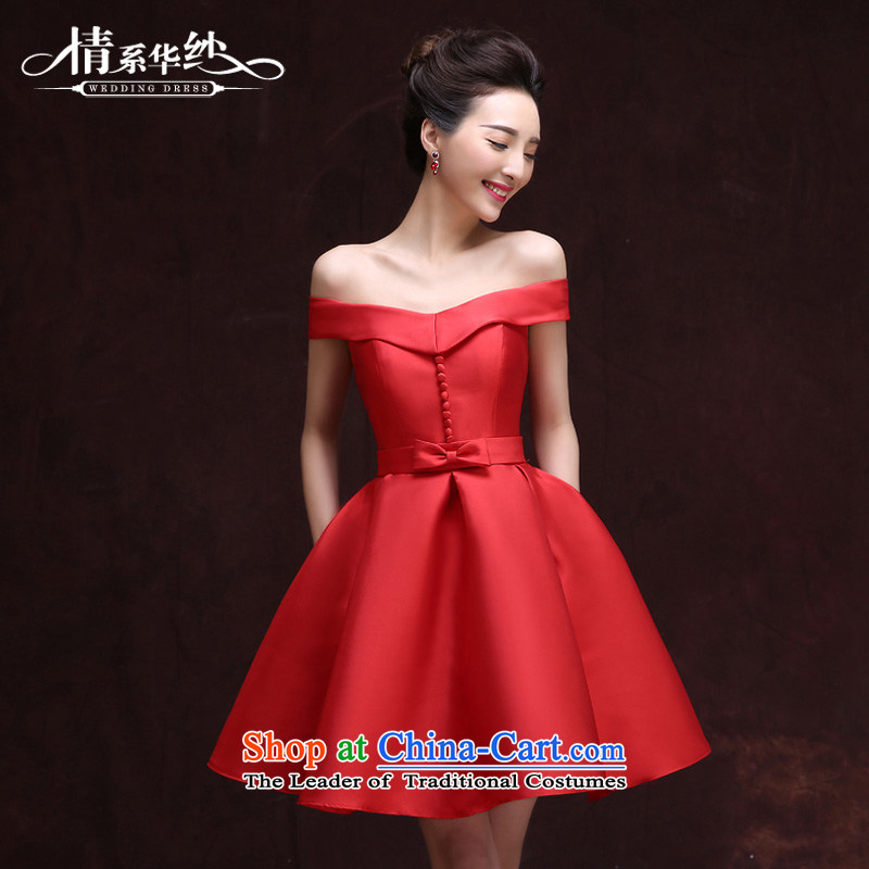 The feelings of Chinese?spring and summer 2015 by the new bride upscale services Red Dress Short bows of video thin small dress skirt red marriage?M