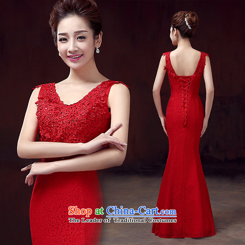 The knot True Love 2015 new bridesmaid to dress a shoulder crowsfoot dress field long marriages bows to Sau San wedding female red?XL