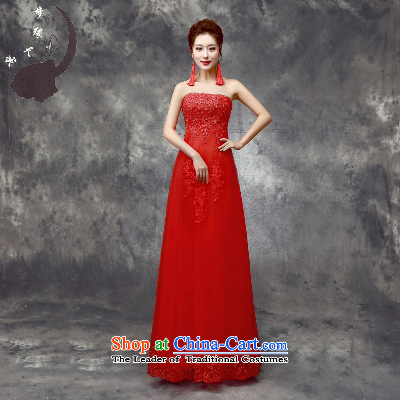 The leading edge of the brides bows service days long strap New Night Banquet at the annual meeting of the 2015 dress skirt red 8011 A swing lace edge petticoats?XXXL $218