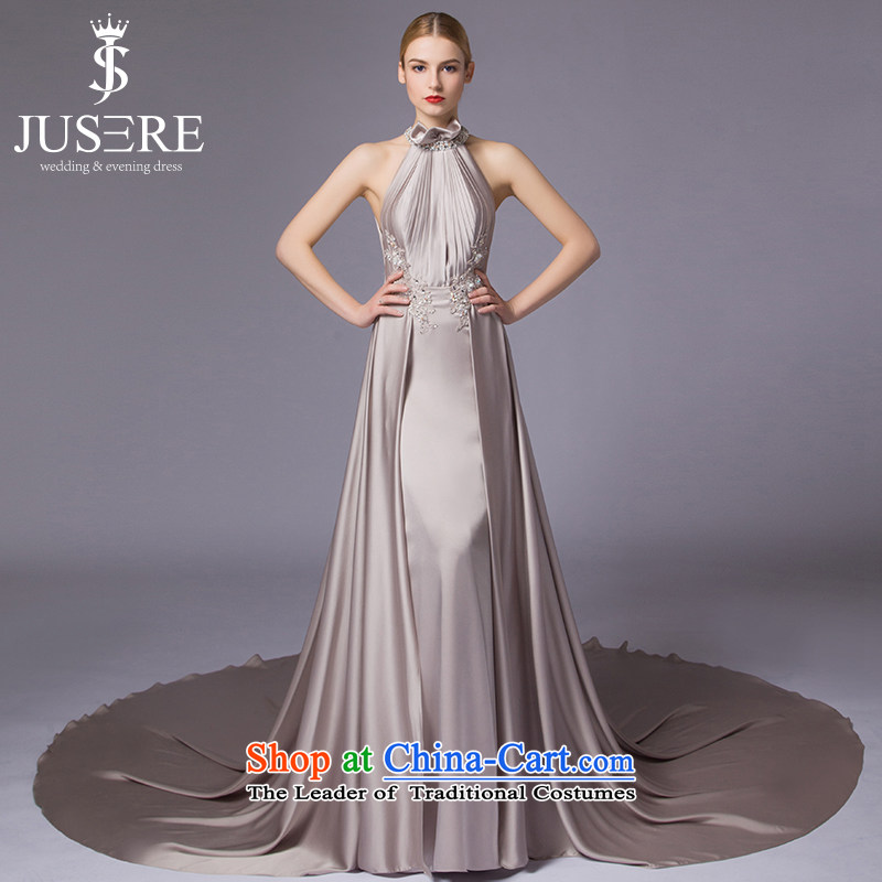 The Night is by no means?new 2015 Hyang Ok aristocratic dress banquet evening dresses moderator hang will also sleeveless tail silver gray?2 code