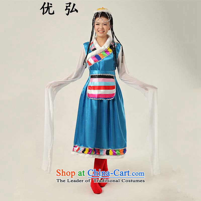 Optimize the new 2015 Hong-national costumes youth beautiful long-sleeved clothing stage costumes perform Tibetan ycf001 services blue L