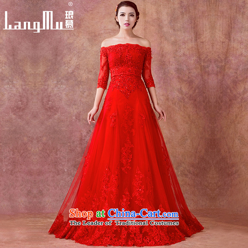 The 2015 Red bride Luang stylish wedding dresses new anointed chest bows services lace a Field Graphics thin dress and shoulder chest), a?code 135cm long yi XL