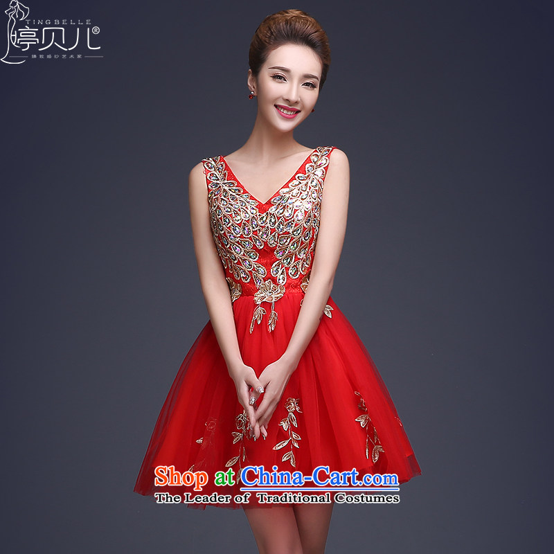 Beverly dress Ting 2015 new bride respectfully liquor service winter crowsfoot dress length) Ms. marriage red shoulders Sau San Xia dresses red short)?S