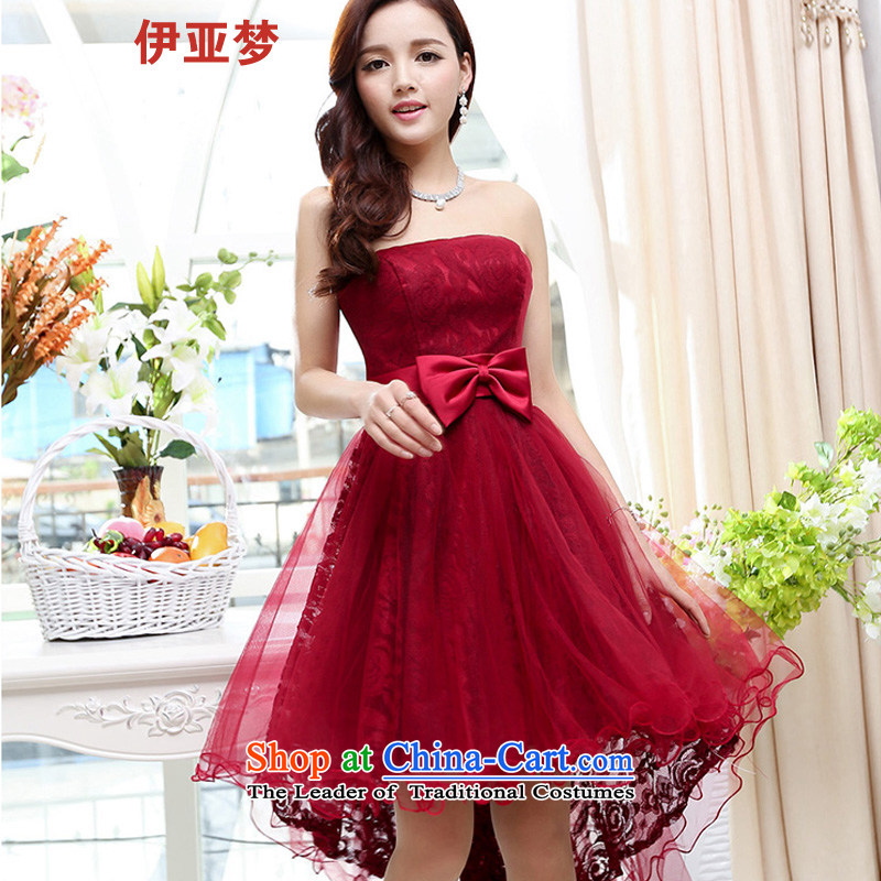 The 2015 Spring_Summer load dream new women's sexual feelings are decorated in a bow tie lace anointed chest dresses small dress female wine red?S
