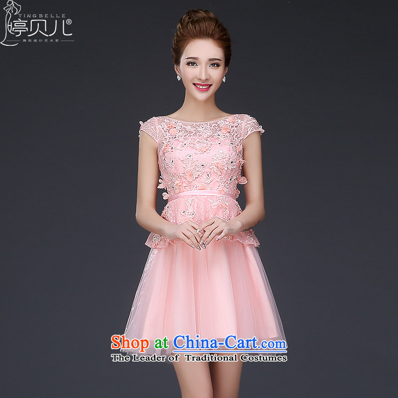 Beverly Ting bridesmaid bride bows services serving the spring of the new 2015 wedding dress short of the betrothal word summer evening dress female banquet shoulder Pink Pink?L