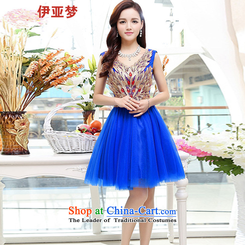 The 2015 Spring/Summer Dream new for women Korean Sau San lace dresses temperament back dress skirt blue?L