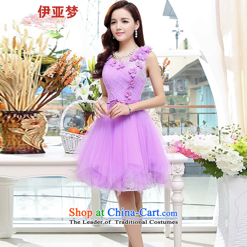The spring and summer of 2015, of women's clothes new Korean lady back lace small dress dresses bows to purple?L