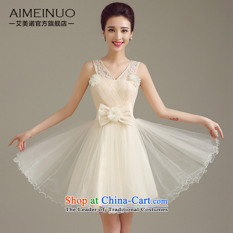 The 2015 summer HIV new bride evening dresses Marriage won version V-Neck shoulders lace bows services manually flowers bow tie A15BL02 Sau San White?M (?2.0 feet?) of the waist
