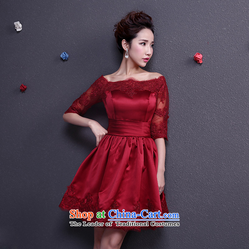 The dumping of the wedding dress bows Service Bridal 2015 Spring red short of a marriage dress field in the shoulder of short-sleeved gown pocket dress thin wine video Sau San Red�XS