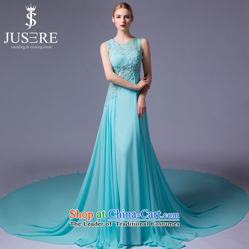 There is a new Lam Tin-yuk wedding dresses aristocratic dress round-neck collar chiffon embroidered marriages bows services evening dress Light Blue?10