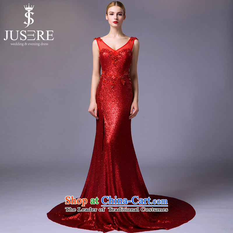 There is a stunning?new 2015 dream marriages bows services evening dress will serve under the auspices of the shoulders, V-Neck lace Red?8