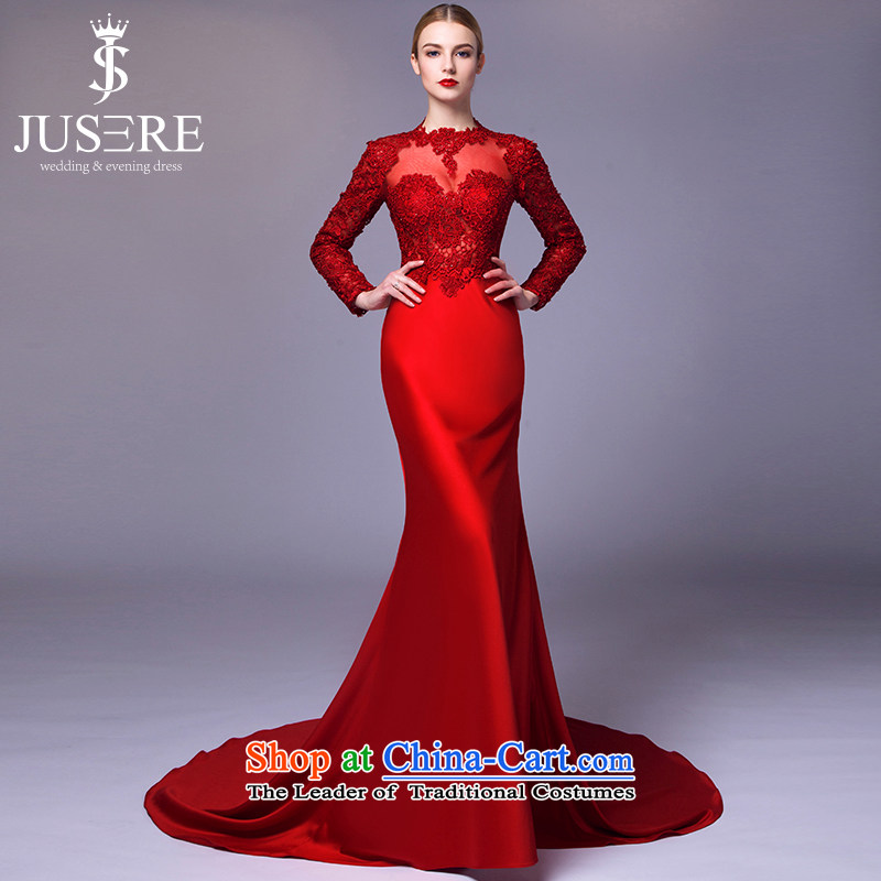 There is a red sleeved wedding dresses 2015 new aristocratic dress bows engraving service long-sleeved red?4 code