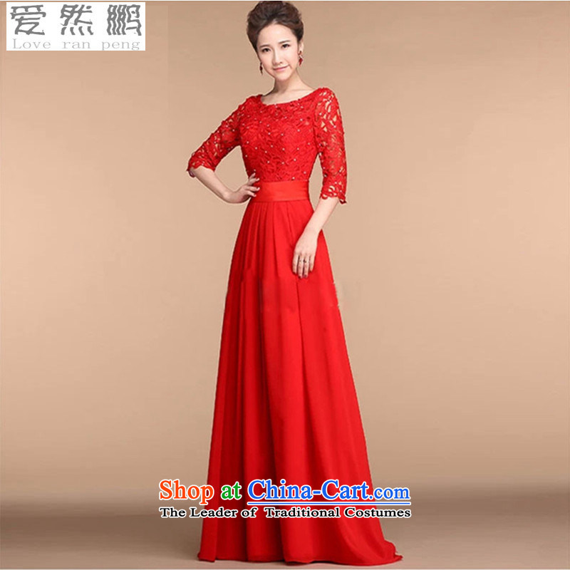 Love So Peng New 2015 Red married women serving the word bows shoulder lace stylish Sweet dress Sau San spring and summer long�M