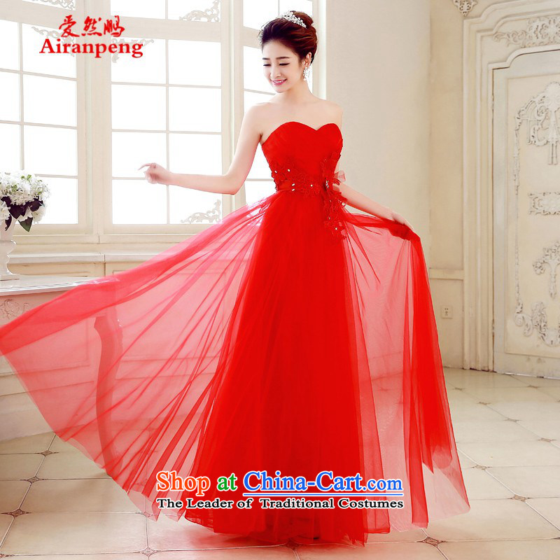 Love So Peng 2015 Spring/Summer new bridesmaid services dress long skirt bride bows services Sister Mary Magdalene chest bridesmaid skirt evening dress red?L