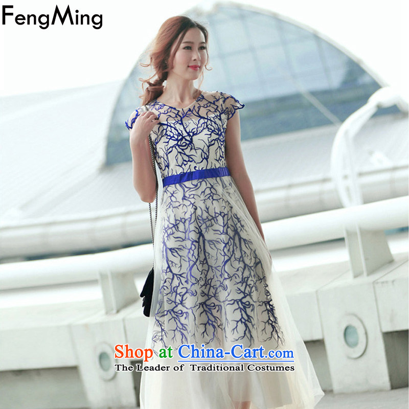Hsbc Holdings plc European station-soo Ming, dresses heavy industry embroidery large web dress bridesmaid dress skirt 2015 new blue?S