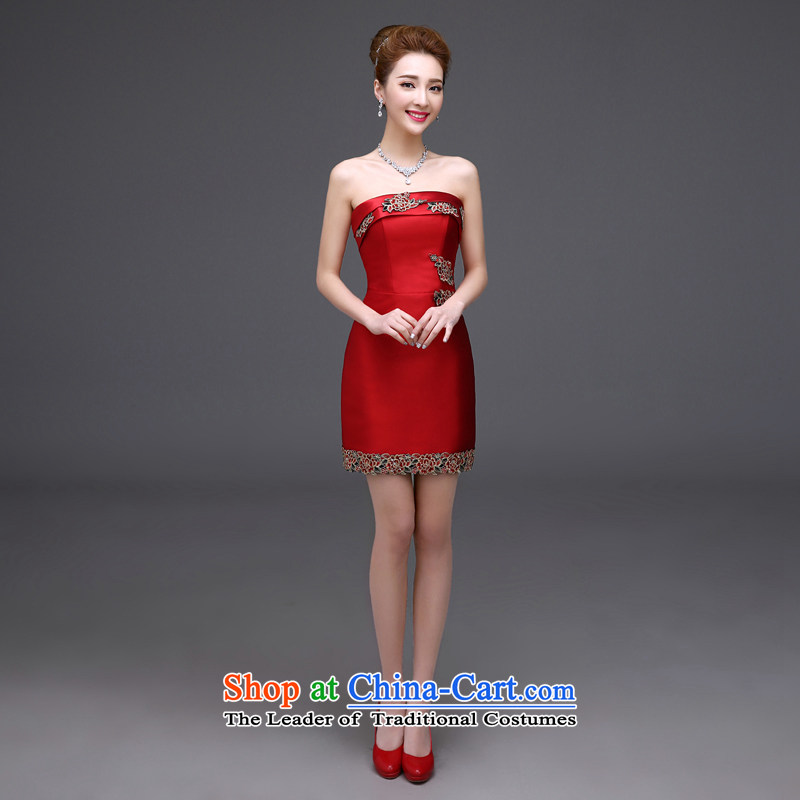 However Service Bridal Fashion?2015 new summer red, wipe the chest length of marriage betrothal marriage high-end dinner banquet dress pleasant bride red anointed chest short?M