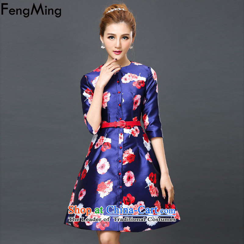 Hsbc Holdings plc Ming Large Stamp dress in cuff graphics, large numbers of Sau San thin dresses autumn 2015 new) Blue XL