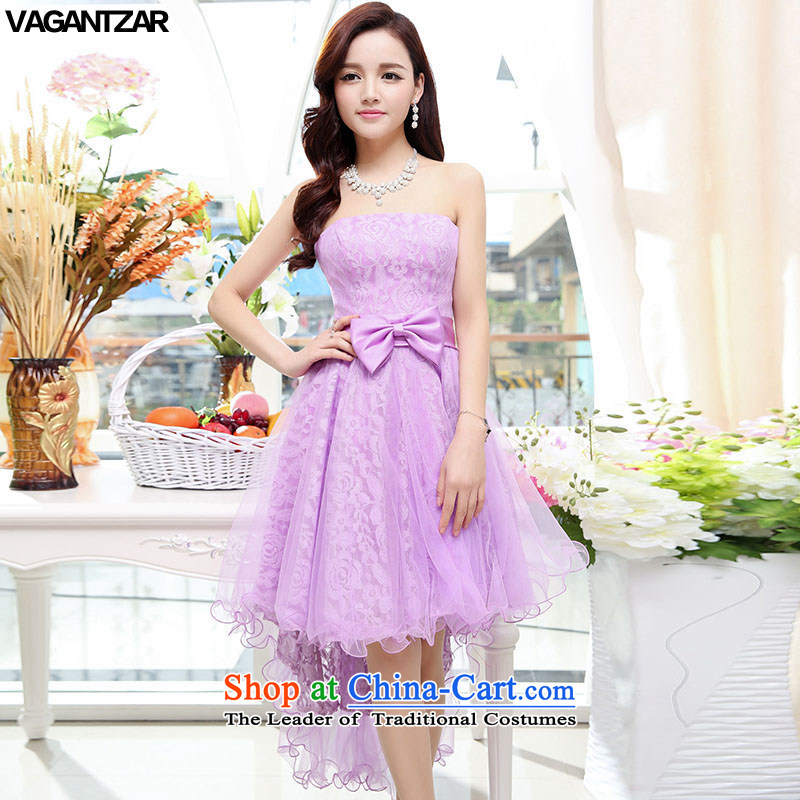 Vagantzar banquet evening dresses 2015 new spring and summer marriages bows services in a small red dress bridesmaid services 1557 skirt purple?M
