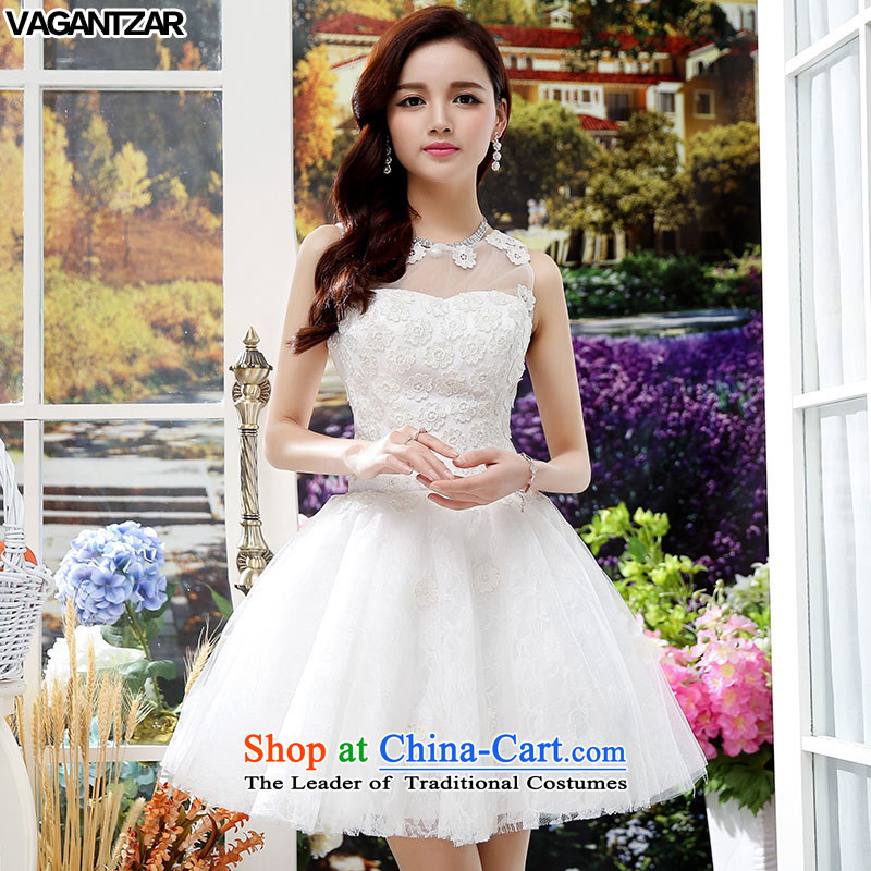 The new name-yuan VAGANTZAR2015 small incense wind sleeveless Sau San upscale wedding dresses A Wedding dress HSZM1551 White?M