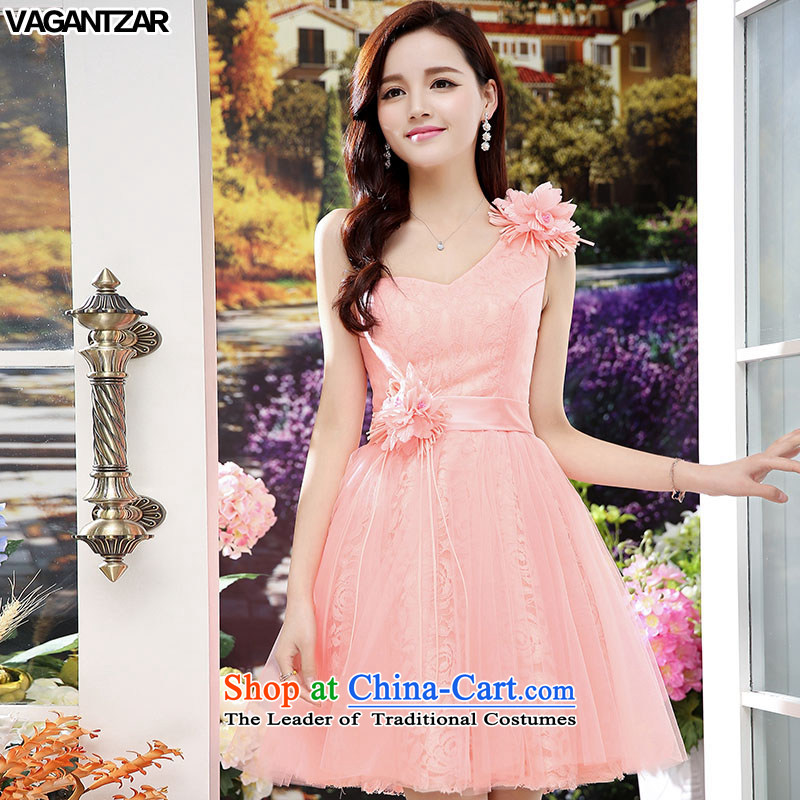 The new name-yuan VAGANTZAR2015 dress small incense wind sleeveless Sau San upscale wedding dresses wedding dress pink 1565?M