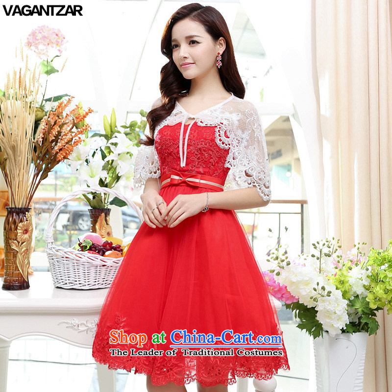 The new name-yuan VAGANTZAR2015 dress small wind wrapped Chest ( ) Hong upscale wedding dresses wedding dress1563 red XL