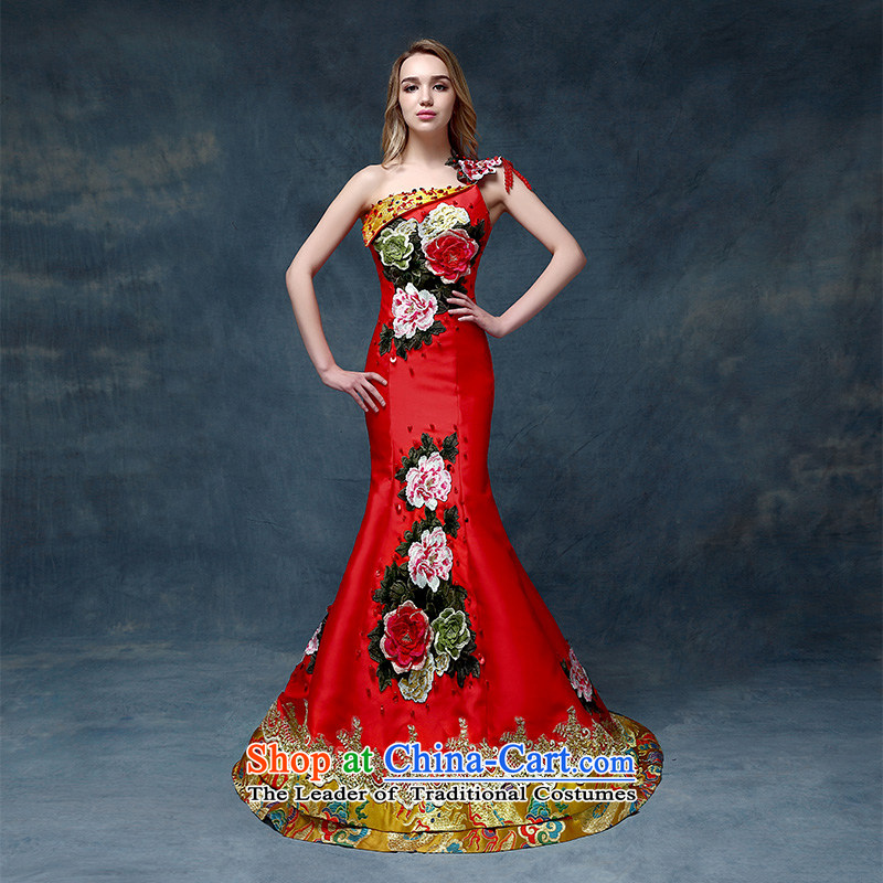 According to Lin Sa 2015 Spring_Summer new shoulder embroidery marriages evening dresses China wind crowsfoot bows services under the auspices of dress red?S