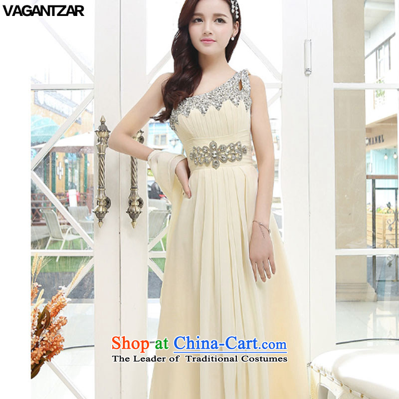 The new name-yuan VAGANTZAR2015 dress small incense wind sleeveless Sau San long upscale wedding dresses marriage ceremony1567 apricot?L