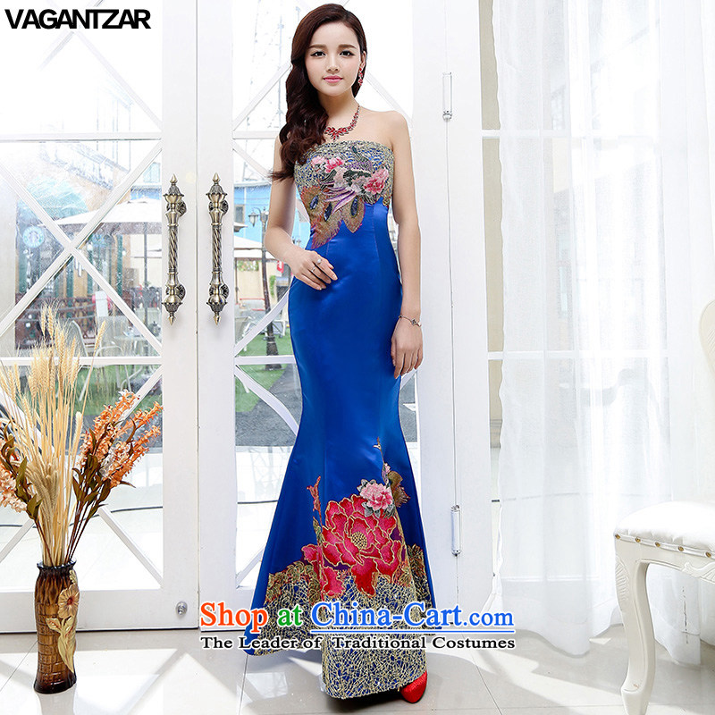 The new name-yuan VAGANTZAR2015 dress Sau San upscale wedding long skirt wedding dress blue?S