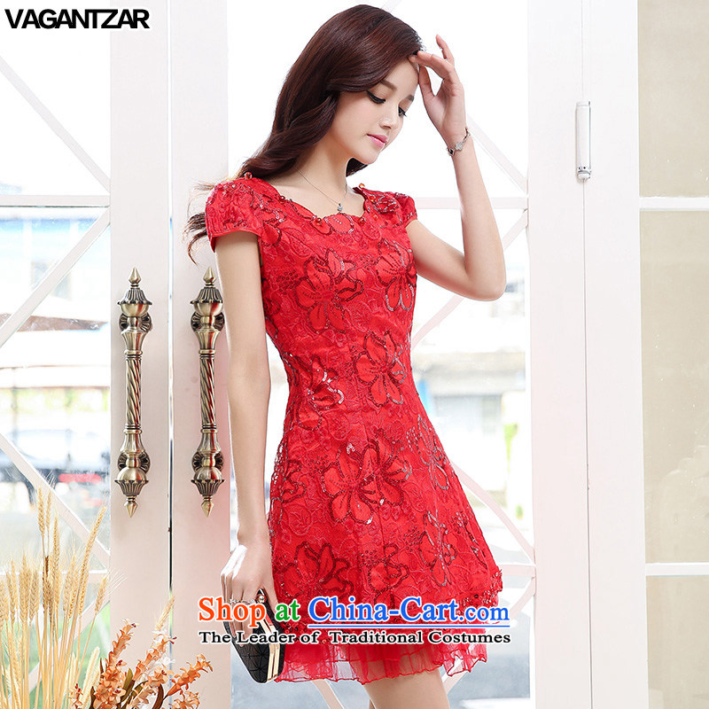 The new name-yuan VAGANTZAR2015 dress small incense wind short-sleeved Sau San upscale wedding dresses marriage bows dress?XXL