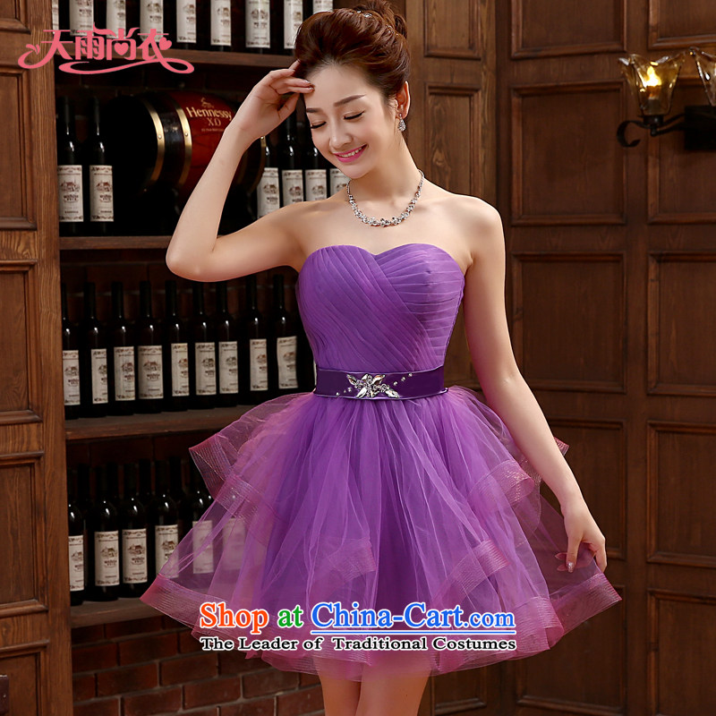 Rain-sang Yi marriages new stylish performances wedding dresses bridesmaid small photo building photography style Purple short skirt LF214_ Purple?XXL