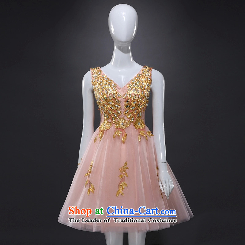 Rain Coat bride dress marriage is transmitted to the new stylish shoulders a small red dress Female dress short of the spring and summer of banquet bridesmaid dresses LF215 pink tailored