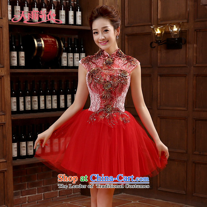 Rain-sang Yi marriages bows services 2015 new short in a small red dress dress banquet hosted dress summer female dresses LF217 RED?S