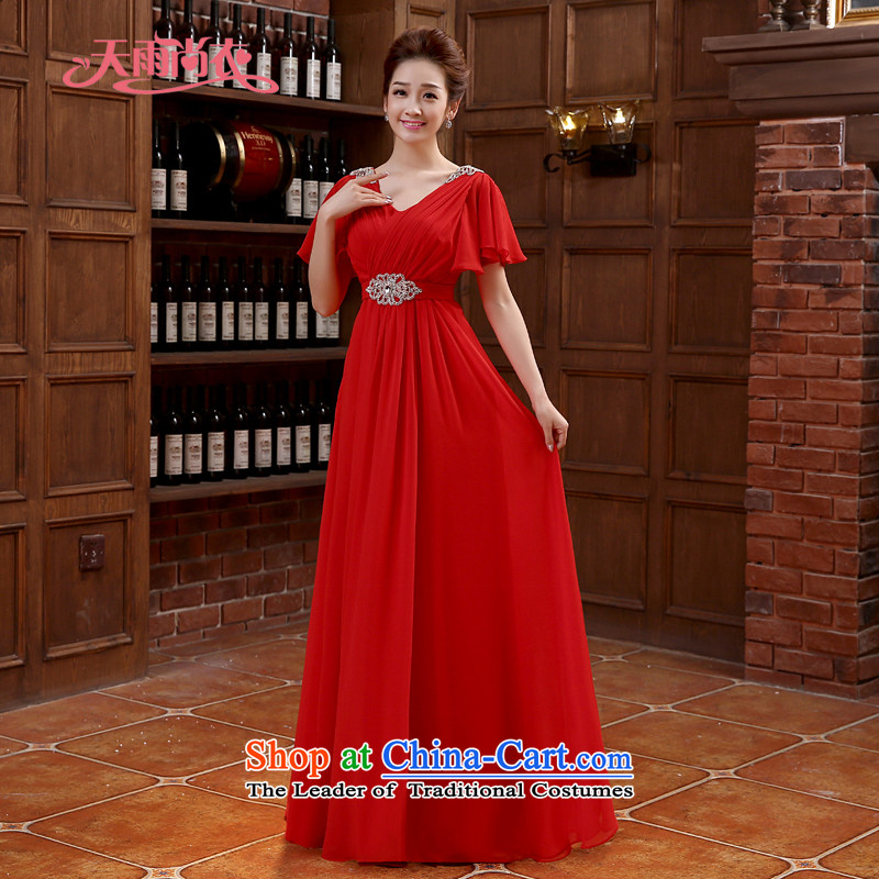 Rain-sang Yi marriages bows to the new shoulders stylish red long evening dresses hotel banquet dresses elegant parquet drill length dress LF218 RED?XXL
