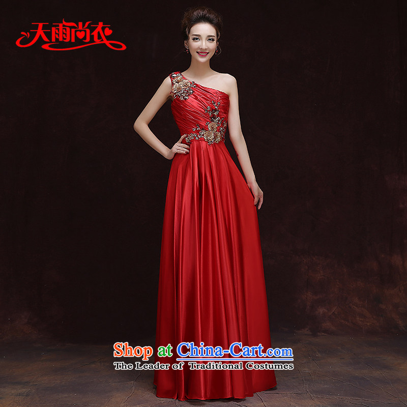 Rain Coat bride bows services is the spring and summer 2015 annual meeting of the persons chairing the new purple dress female long single shoulder flowers Sau San dinner will?LF219?large red tailored