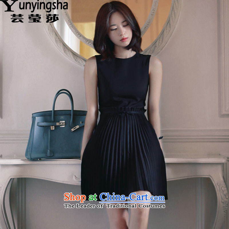 Yun-ying sa 2015 summer round-neck collar Sleeveless Body Generating Graphics thin like Susy Nagle dresses chiffon skirt dress skirt L9111 Black?XL
