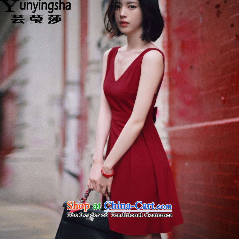 Yun-ying sa 2015 Summer new strap and sexy back deep V-Neck Bow Tie dress dresses nightclubs replacing gift pack L9112 dark red L